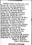 Police Court Roster July 1859